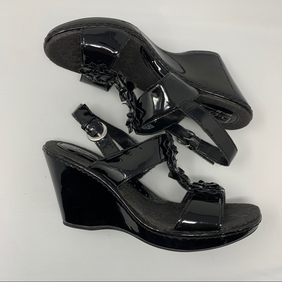 boc Shoes - BOC Born Black Patent Wedge Sandal Flower